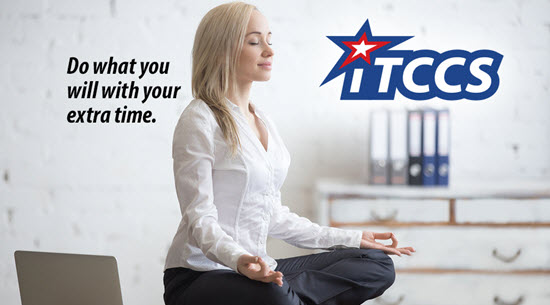 woman yoga on her desk next to an open laptop - iTCCS logo