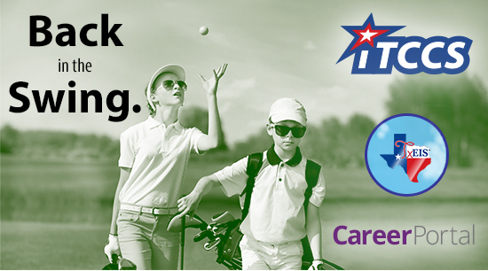 Two kids on a golf course. iTCCS TxEIS CareerPortal